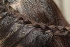 Braid Hairstyle,grey Brown long hair close up Stock Photos