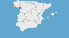 Stock Video Footage of Three-dimensional map of Spain.