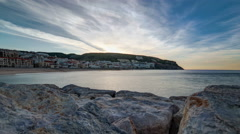 Sunrise at Small town of Sesimbra (Portugal), panorama timelapse Stock Footage