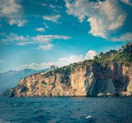 The high cliffs next to the central beach of Budva make the coastline even mo Stock Photos