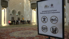 Abu Dhabi, how to behave inside the mosque Stock Footage