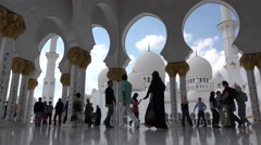 Sheikh Zayed Grand Mosque, Abu Dhabi, visitors, Islam, architecture - stock footage