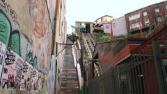View to the funicular railway climbing up a hillside in Valparaiso, Chile Stock Footage