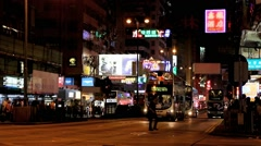 Night traffic in the streets of Hong Kong Stock Footage