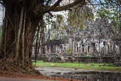 Angkor Thom Cambodia. Bayon khmer temple on Angkor Wat historical place Stock Photos