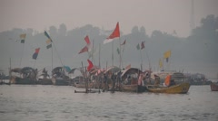 Boats on the river at Sangam,Allahabad,India Stock Footage