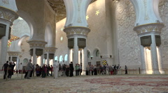 People visit the Sheikh Zayed Grand Mosque in Abu Dhabi Stock Footage