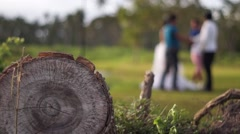 Log foreground Young man and woman pose for picture Stock Footage