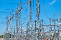 Substation high voltage - stock photo