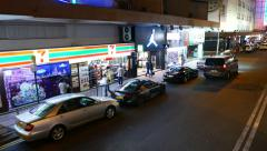 Side view from tram, shoot in the night, HongKong - stock footage