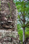 Faces of Bayon temple in Angkor Thom, Siemreap, Cambodia. Stock Photos