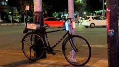 Police bicycle on the street in the center of city Stock Footage