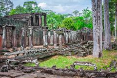 Angkor Thom Cambodia. Bayon khmer temple on Angkor Wat historical place - stock photo