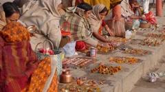 Pelgrims on ghat,Varanasi,India Stock Footage