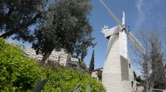 Montefiore Windmill in Jerusalem, Israel. Stock Footage