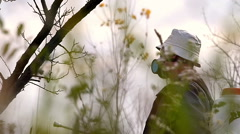 Winter protection of fruit trees by spraying Stock Footage