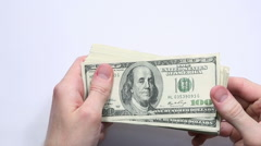 Top View of Man Showing Money Fan on white background. Slow Motion HD Video Clip Stock Footage