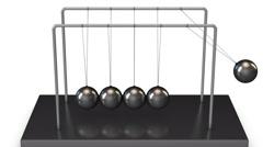 Straight on Newton Cradle Balls Swing in Loop Stock Footage