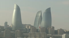 Panorama Baku down with reflection from the sea 3 towers Stock Footage
