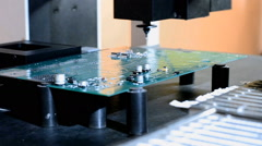 Installation of components on the printed circuit Board of a robot manipulator Stock Footage