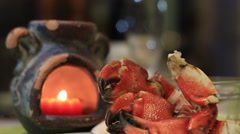 Crab Appetizer in Candle Light Stock Footage