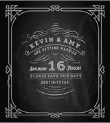 Stock Illustration of Vector. Wedding invitation vintage card. Freehand drawing on the chalkboard