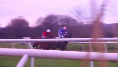 Race horses running and jump, camera follows Stock Footage