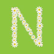 Flora Daisy Design Alphabet Vector Illustartion - stock illustration