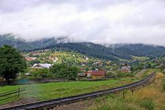 Village in Carpathian mountains, Ukraine - stock photo