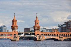 Oberbaumbrucke bridge across the Spree river in Berlin - stock photo