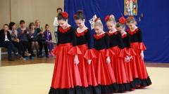 Rhythmic gymnastics. Sport. Grace. Competition girls. Stock Footage