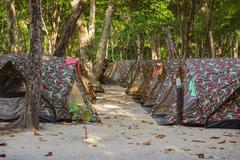 Tents camping at  Similan Islands Thailand - stock photo