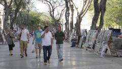 Walking the Paseo de Marti - The Prado 1- Havana, Cuba Stock Footage