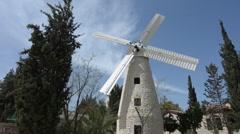 Montefiore Windmill in Jerusalem Israel Stock Footage
