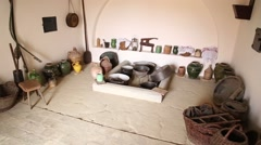 Michael Pupin birth house, kitchen utensils Stock Footage