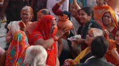 Pelgrims dance at ghat,Varanasi,India - stock footage