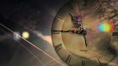 Time passing time lapse clock face earth rortating clouds sun contrail travel 2 Stock Footage