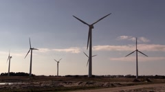 Wind turnines in wind farm Stock Footage