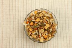 namkeen mixture in glass bowl - stock photo