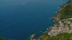 Cinque Terre - Wide Shot of Coast and Village Pan Stock Footage