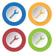 Set of four icons with spanner Stock Illustration