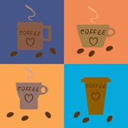 Four different coffee cups and beans. Stock Illustration