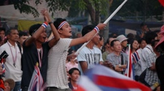 Anti goverment demonstrators at the Democracy Monument,Bangkok,Thailand Stock Footage