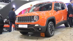 Jeep Renegade and girl on Belgrade Car Show - stock footage