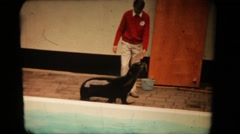 Fur seal in the circus. Vintage 8mm Stock Footage