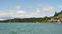 Sailboat in Mangonui Harbour New Zealand Stock Footage