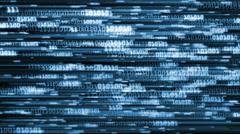 Blue Binary Code Streaming Across Screen Serif Stock Footage