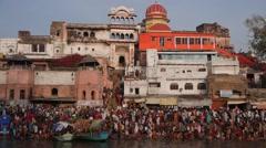 Pelgrims Bathing at Full Moon Festival,Chitrakoot,India Stock Footage