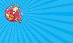 Business card Musician Guitarist Playing Guitar Circle Cartoon Stock Illustration