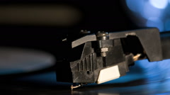 Macro shot of record player needle - side Stock Footage